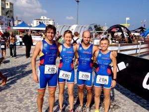 La staffetta dell' Imola Triathlon ai Campionati Italiani assoluti di Riccione (Da destra: Martelli, Santandrea, Benzi, Cavina)