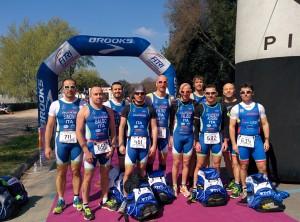La squadra maschile dell'Imola Triathlon ai campionati italiani di duathlon sprint di Fireze