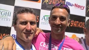Paolo Gaddoni con Massimiliano Gherardi del Cesena Triathlon all'IronTour Isola d'Elba
