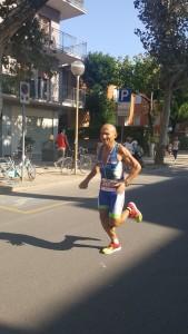 Clavio Righini duarante la maratona dell'Ironman Italy