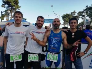 Cavina, Villa, Lacchini e Galassi all'arrivo dei campionati italiani di Lignano Sabbiadoro