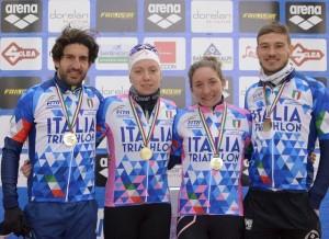 La squadra del TD Rimini campione italiana di duathlon a squadre (Camporesi, Papais, Parodi, Soldati)