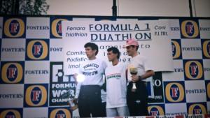 Il podio della prima edizione del Duathlon di Imola con Crivellini, Guidetti e Riva.